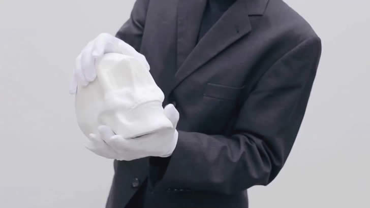 Stretching out paper skull head