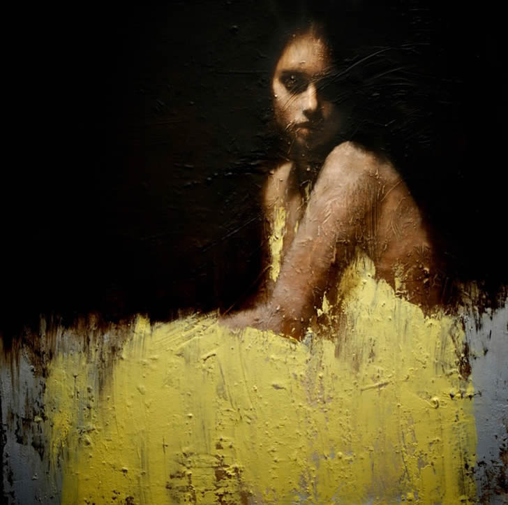 Oil painting of Girl with yellow Dress by Mark Demsteader