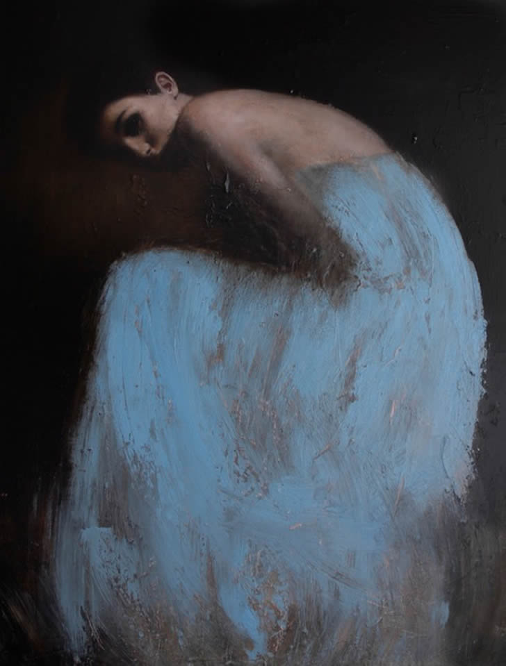 Girl with Blue Dress. A painting by Mark Demsteader