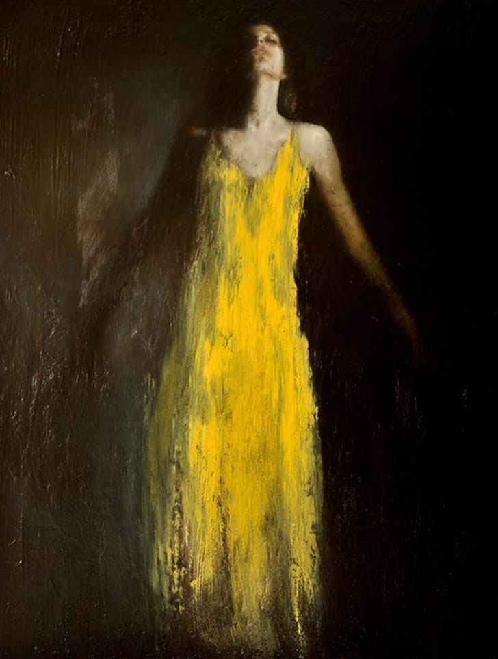 Girl and long yellow dress. Painting by Mark Demsteader
