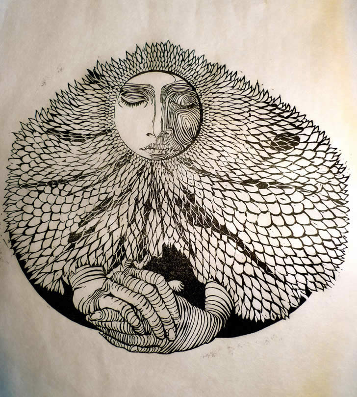 Girl with fish scales linocut by Natasha Russell