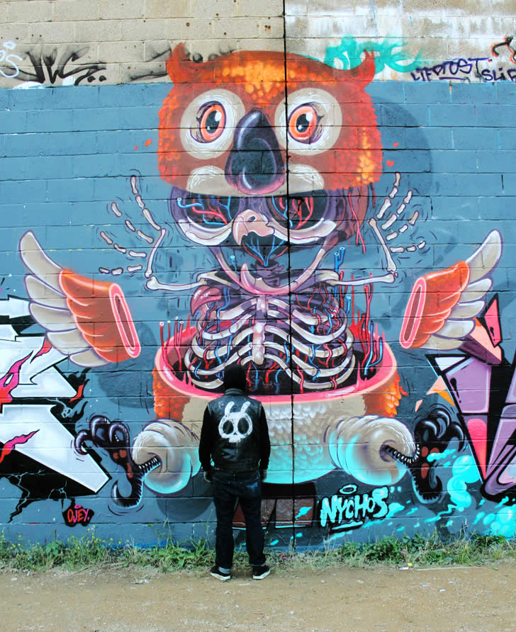 Owl graffit by Nychos