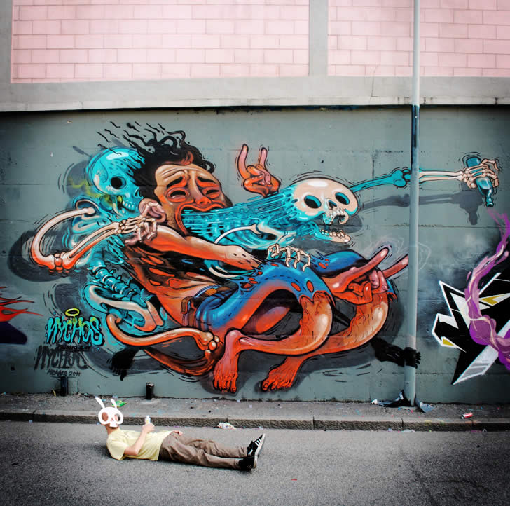 Skeleton coming out of body. Graffiti by Nychos