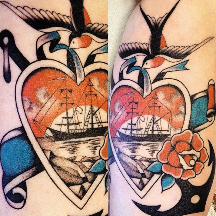 Red heart with ship tattoo by Stizzo