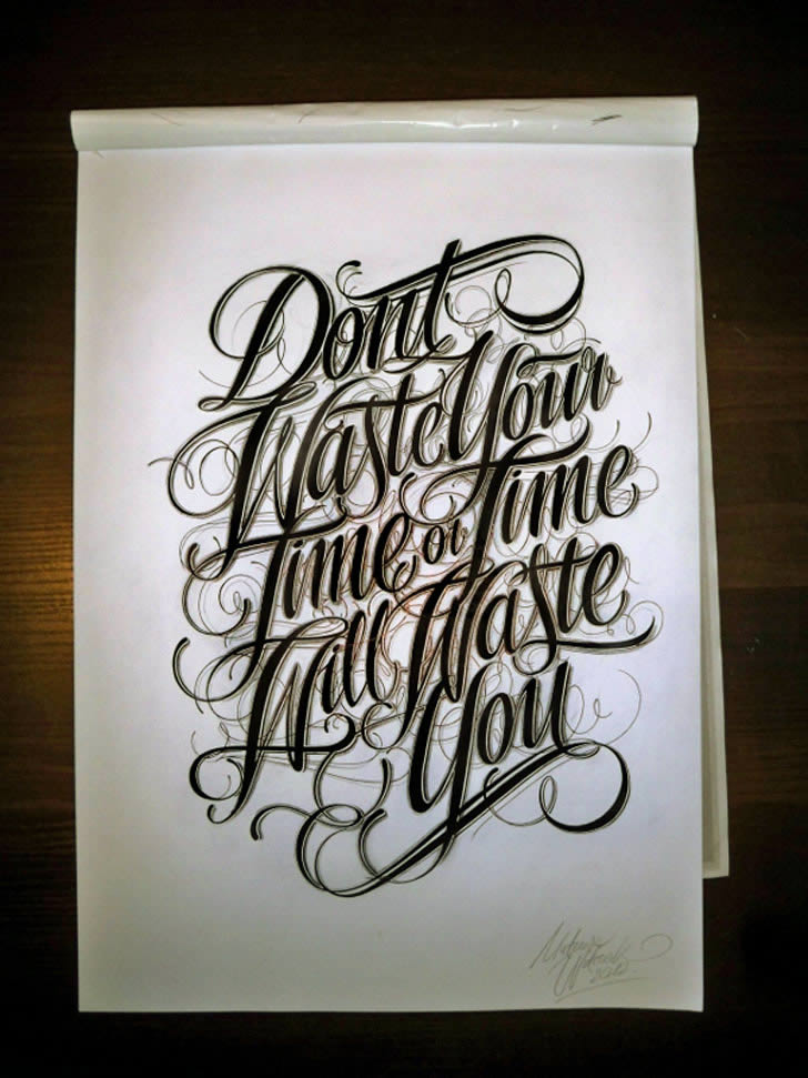 Don't Waster Time Lettering by Mateusz Witczak