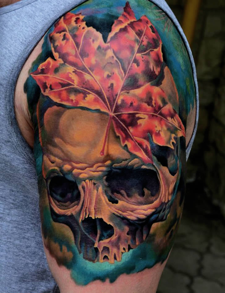 Leaf and Skull on Arm. Tattoo by AD Pancho