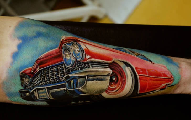 Red Convertible tattoo by AD Pancho
