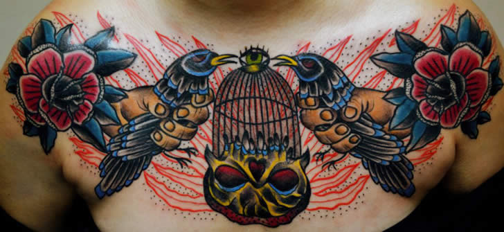 Two Birds and Cage Tattoo by Aivaras Lee