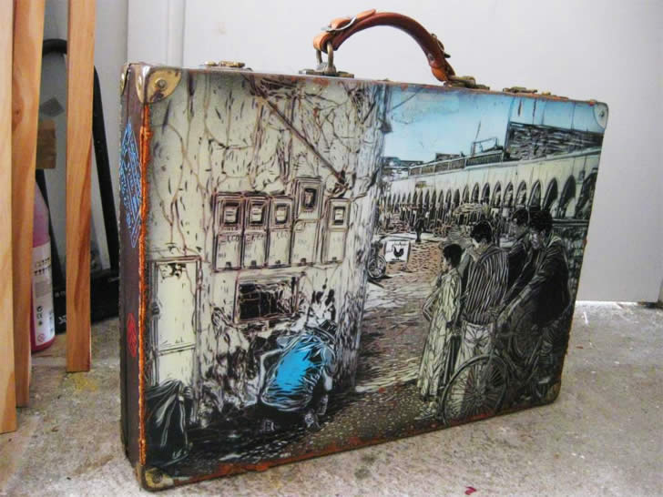 Painted Suitcase by C215