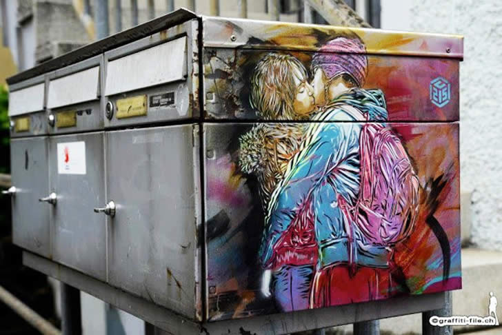 Kids Kissing (couple), graffiti by C215