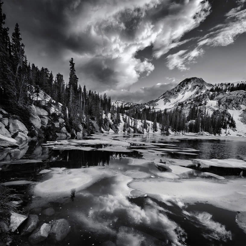 Black and White Lake and Mountain