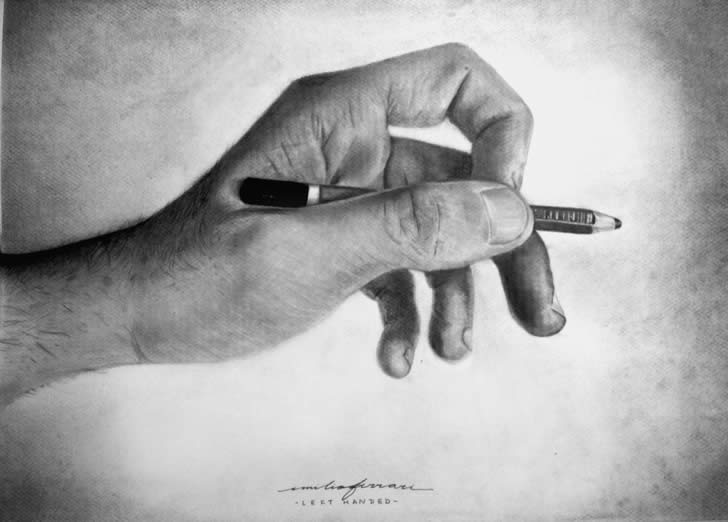 Hand with Pencil, realistic drawing by Emilio Ferrari