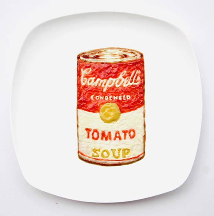 Campbell's soup made from ketchup, mayo, and mustard by Hong Yi