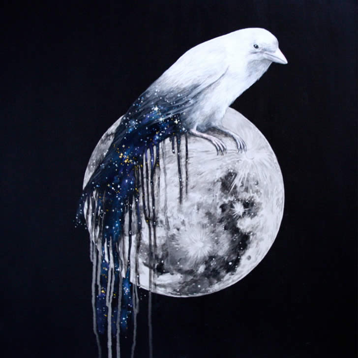 Celestial Bird on Moon by Louise McNaught