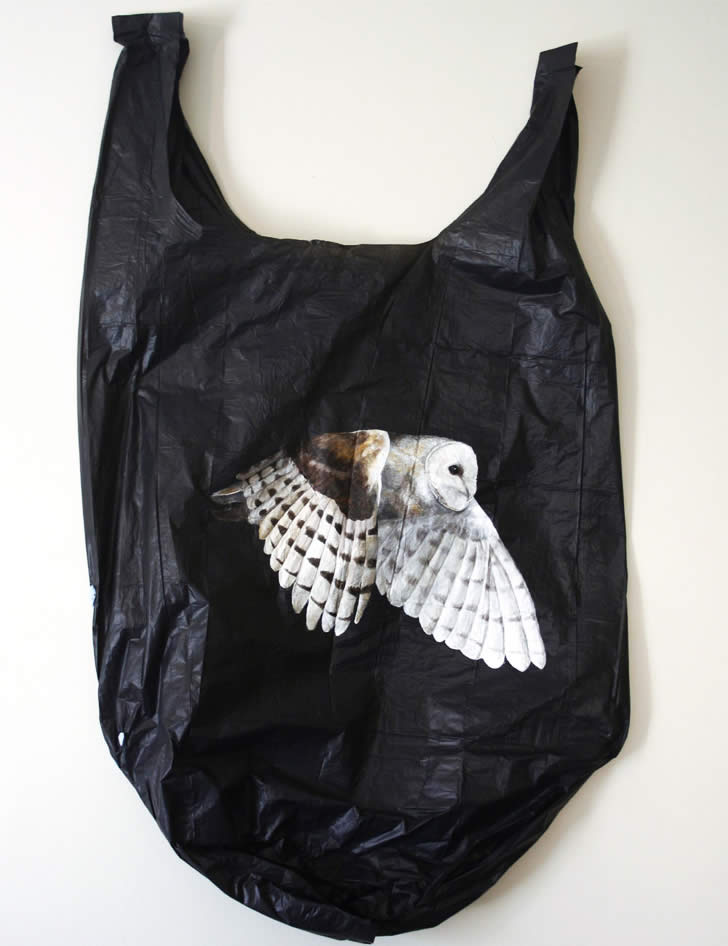 Owl painted on black bag by Louise McNaught
