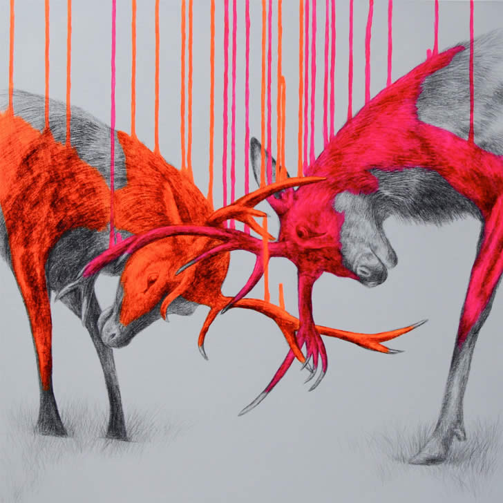 Neo orange and pink deers by Louise McNaught