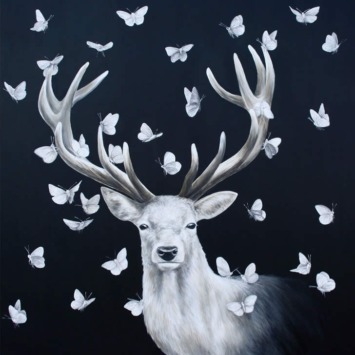 Greyscale Deer with Butterflies by Louise McNaught