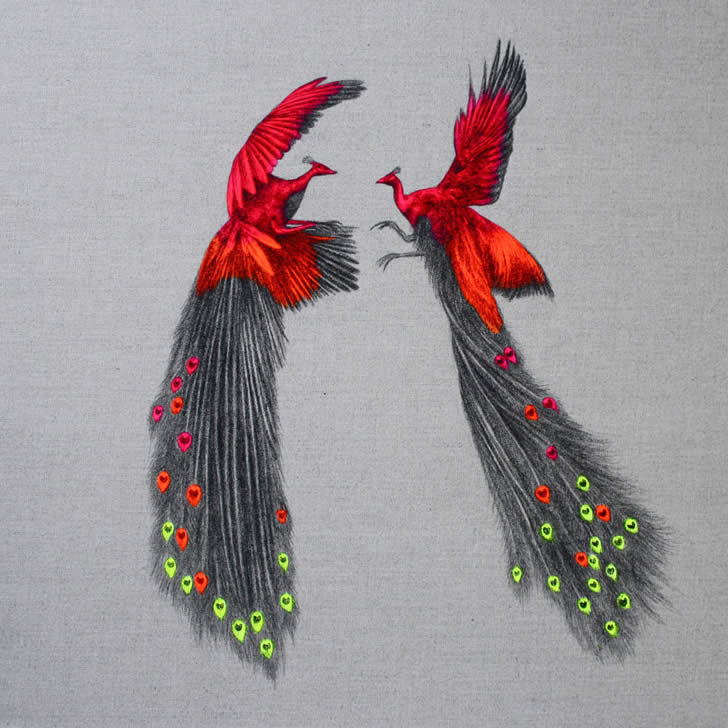 Neon Peacocks by Louise McNaught