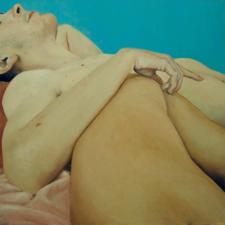 Man touching woman's leg. Painting by Nuria Farre