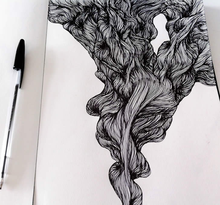 Wavy hair drawing in sketchbook