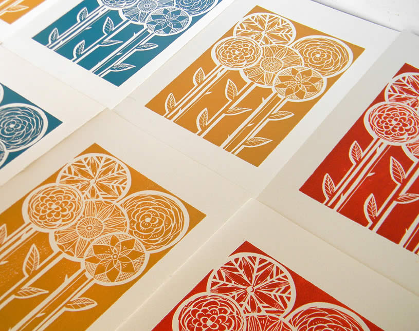 Lino block with flowers