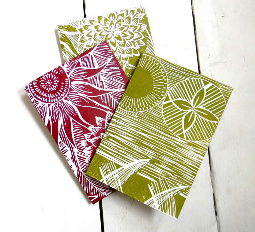 Hand printed cards by Amanda Colville
