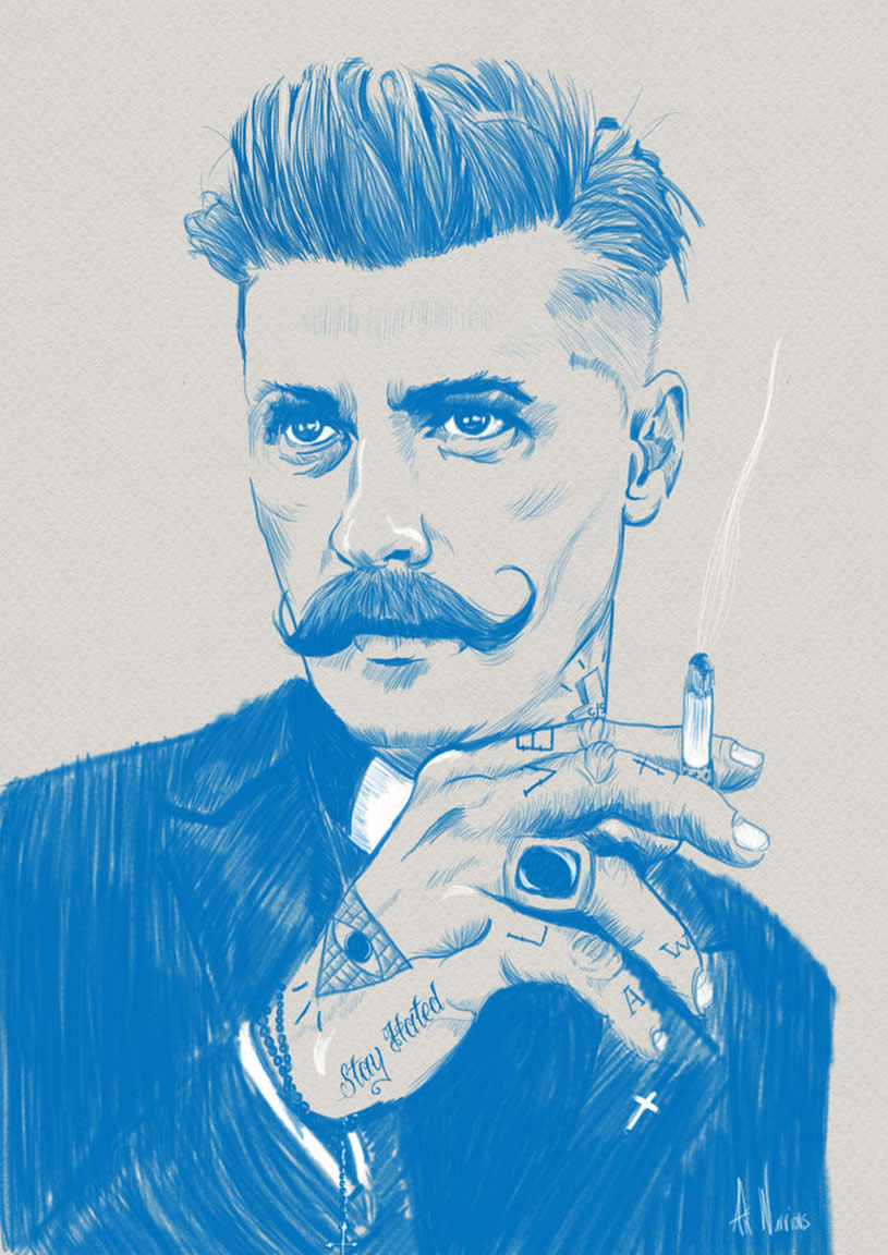 Preacher portrait in blue by the Art Warrior
