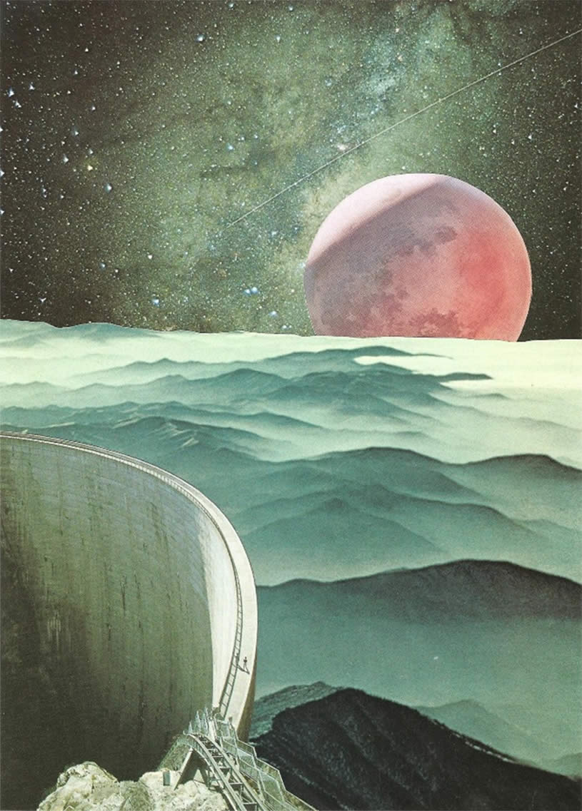 Planet and water dam. Collage by Bryan Olson