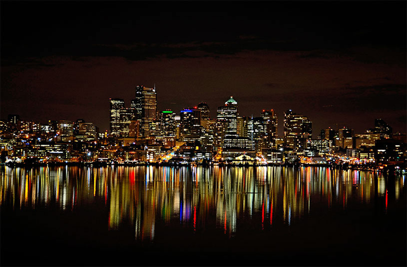 Seattle skyline reflection by  John G. Cramer III