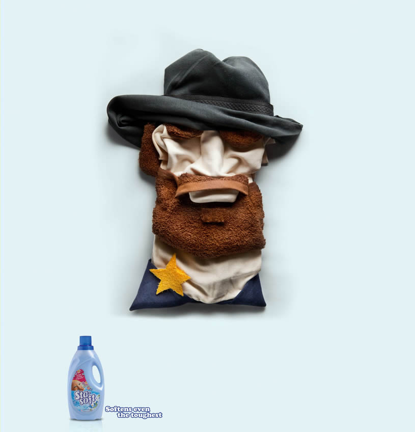 Chuck Norris made with cloth for softies advertising