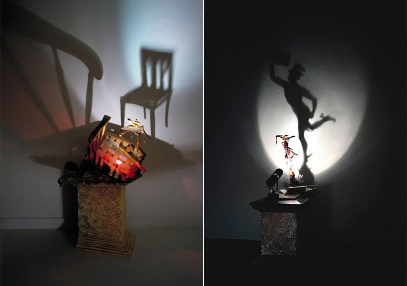 Left to right: A Chair in shadow art and a Man on one foot by Diet Wiegman