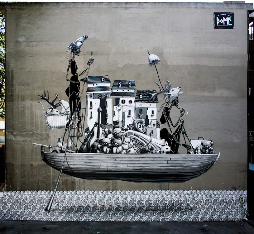 Boat mural by Dome
