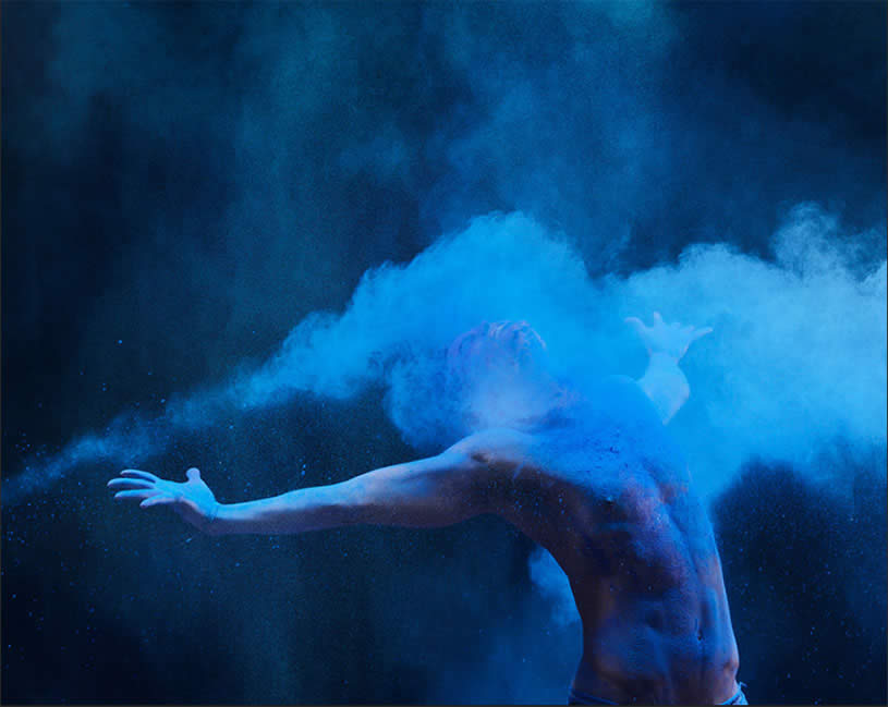 Blue Powder on Man by Human Wave by Henrik Sorensen