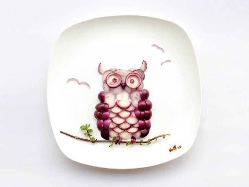 Owl made with Onions by Hong Yi
