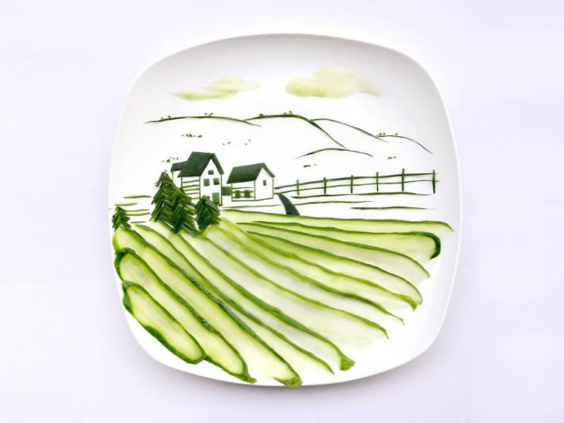 House and landscape made with cucumber