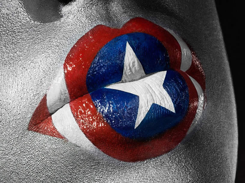 Painted Captain America Lips. Photo by Jonathan Knowles