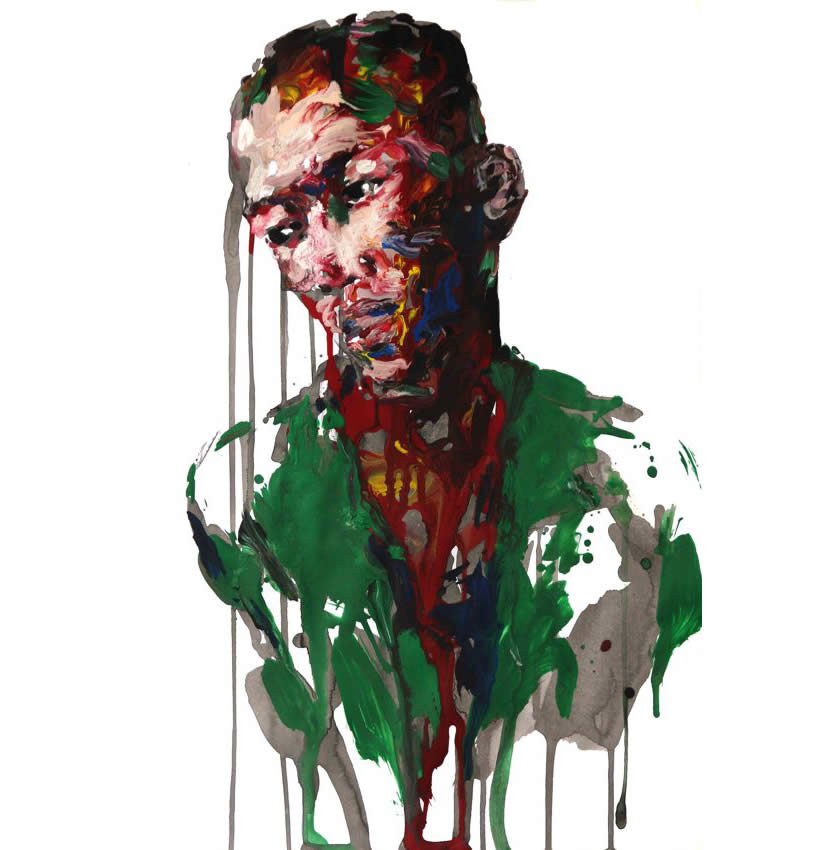 Red and green dripped paint man by Kwangho Shin
