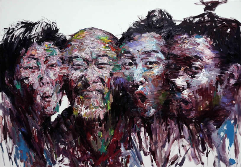 Four Men Making Faces. Painting by KwangHO Shin
