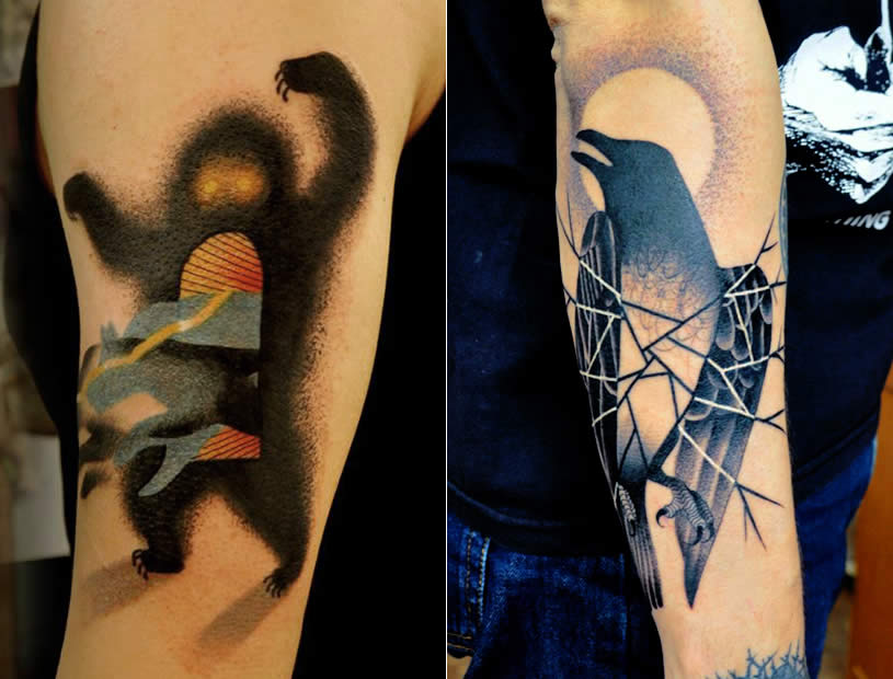 Monster and Crow tattoos by Marcin Aleksander Surowiec