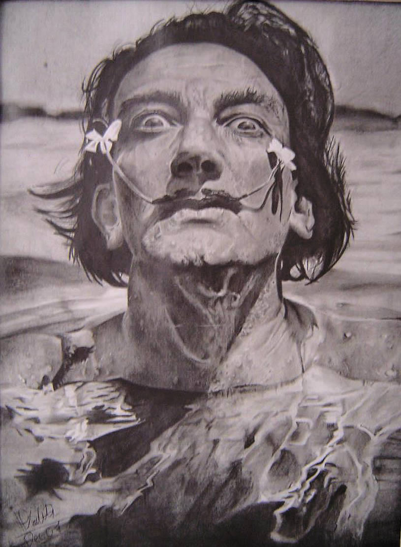 Salvador Dali portrait. Drawing by Mayra Vialette