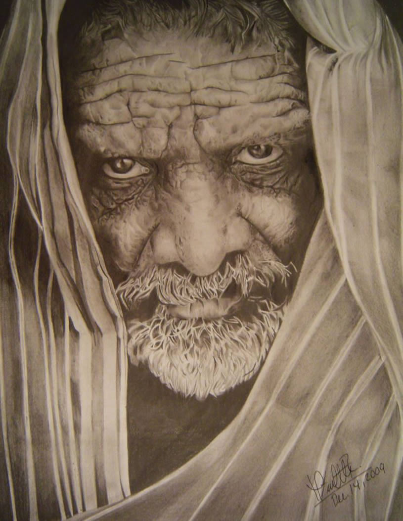 Indian Man portrait. Drawing by Mayra Vialette