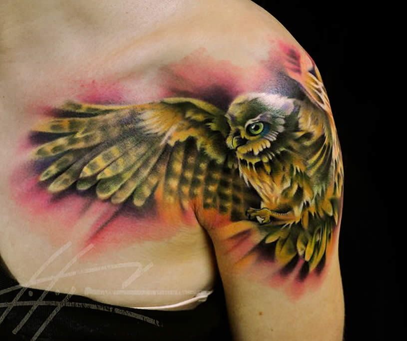 Owl on Shoulder. Tattoo by Nick Chaboya