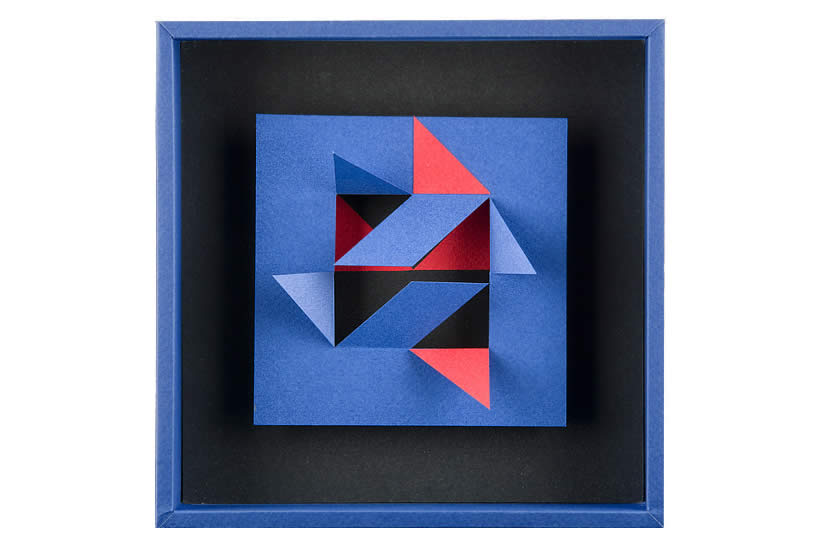 blue and red paper sculpture by Novuk