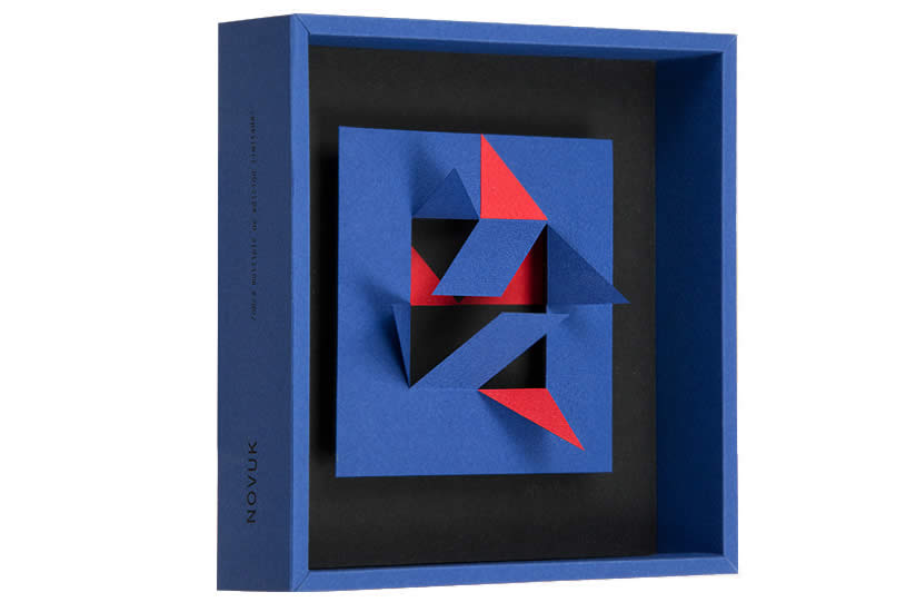 side view of a2 blue and red paper sculpture by Novuk