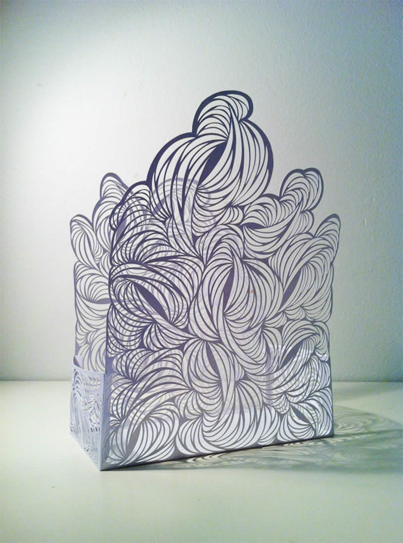Paper sculpture box by Rachel Ashe