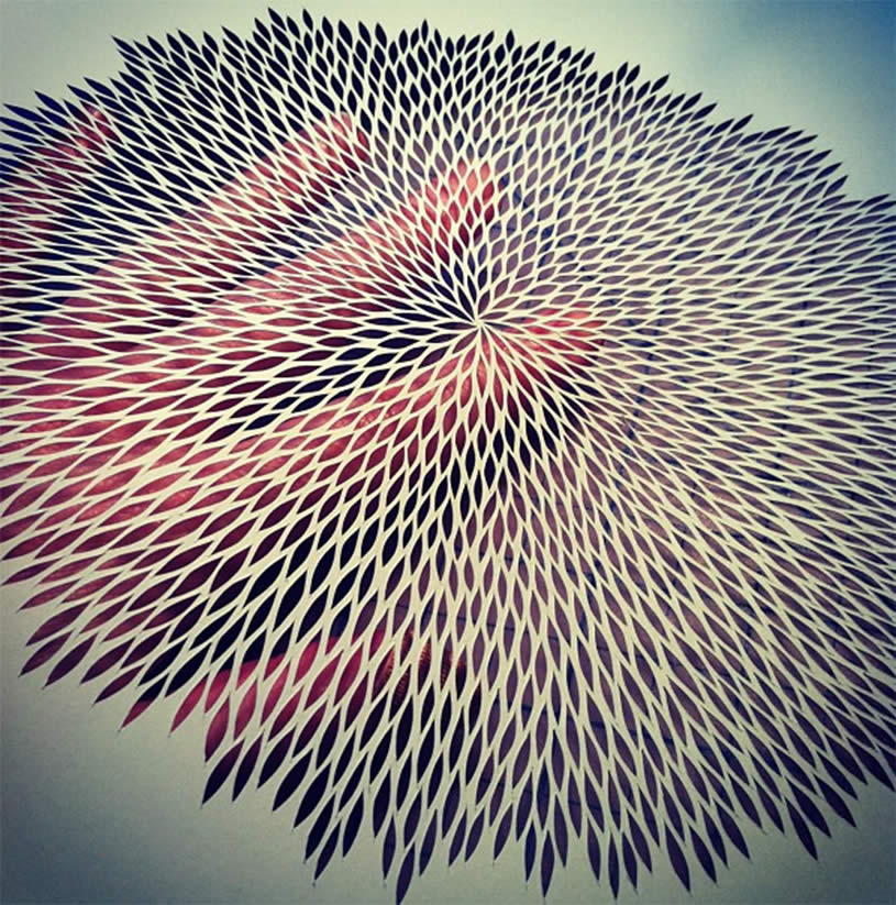 Vibrating paper cutout by Rachel Ashe