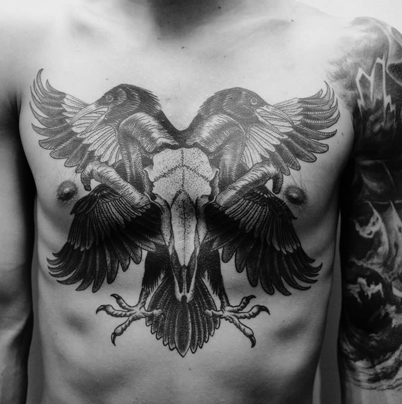 Two Birds on Chest tattoo by Rafel Delalande