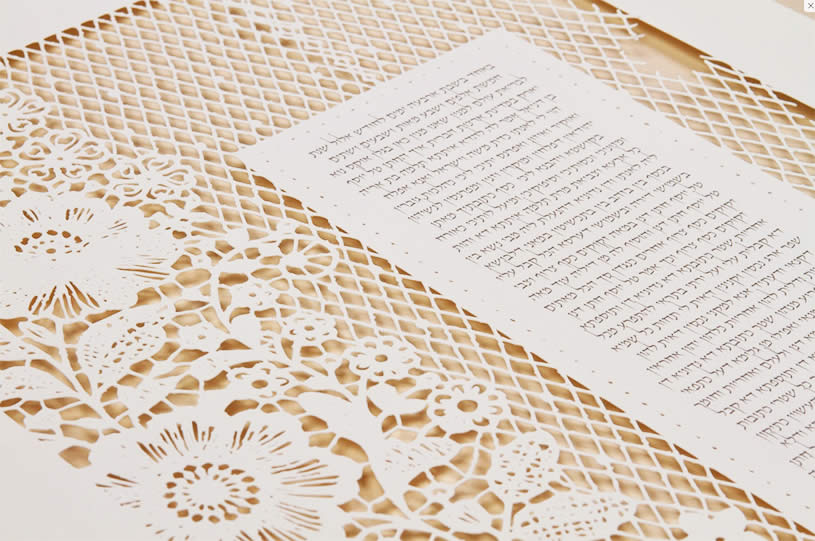 Close-up of Ketubah with flowers by Ruth Mergi