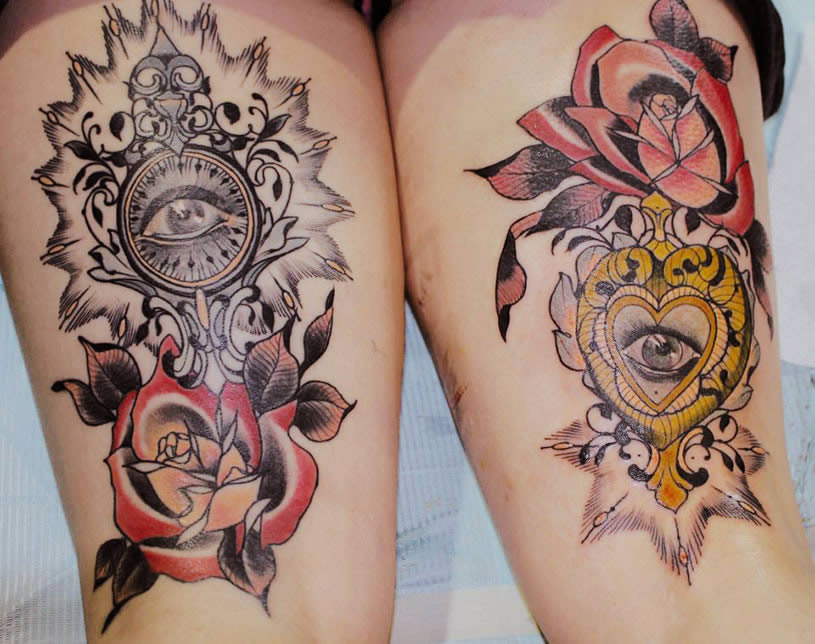 Triangle with eye and roses by by Miss Tiny Becca
