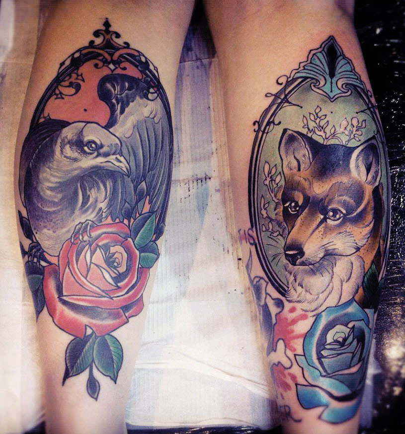 Fox tattoo by by Miss Tiny Becca